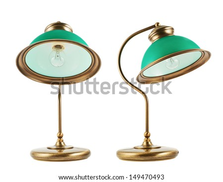 Metal table-lamp with a green lampshade isolated over white background, set of two foreshortenings - stock photo