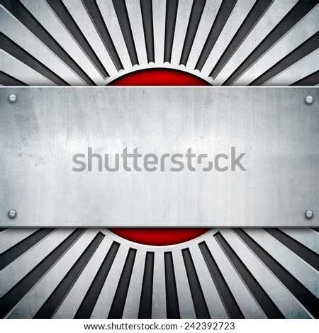 metal template with rays pattern  - stock photo