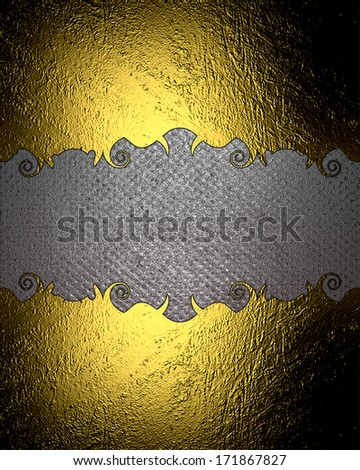 metal texture background with gold pattern on edge - stock photo
