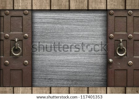 Metal Texture with Wooden Board and Gates - stock photo