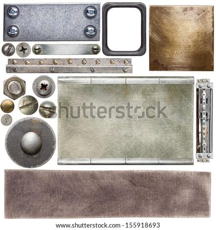 Metal textures, backgrounds, screw heads - stock photo