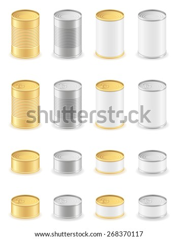 metal tin can set icons illustration isolated on white background - stock photo