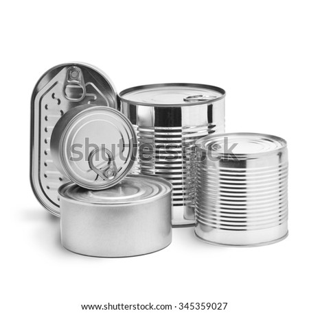 metal tin cans on a white background  - stock photo