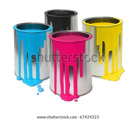 Metal tin cans with four process color cmyk paints flowing - stock photo