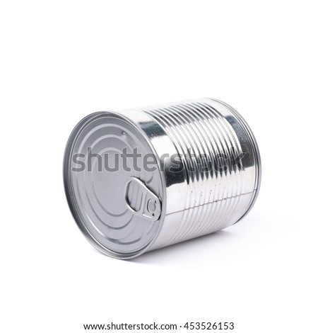 Metal tin food can lying on its side, composition isolated over the white background - stock photo