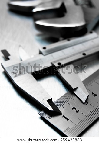 Metal tools. Metal style. Many metal tools on the scratched metal background. - stock photo