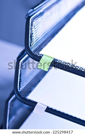 Metal tray on the table - stock photo