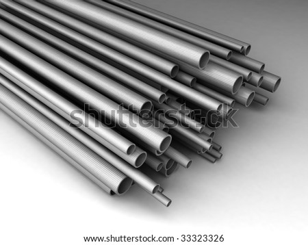 Metal tubes of different sizes. For other similar images from the series, please, check my portfolio. - stock photo