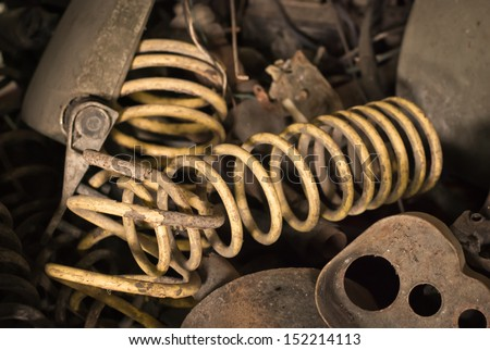 Metal waste and scrap the old car parts - stock photo