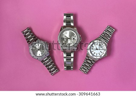 Metal watches women - stock photo