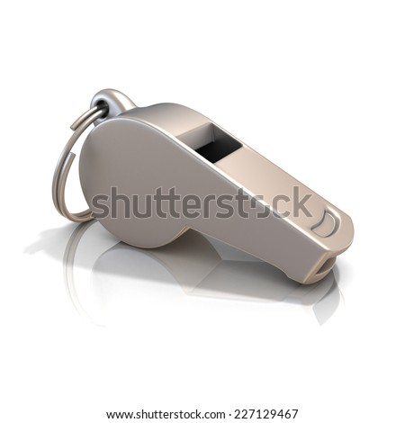 Metal whistle isolated on white background. Side view - stock photo