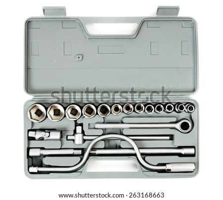 Metal working tools. Metalwork. Box with wrenches on white background. - stock photo