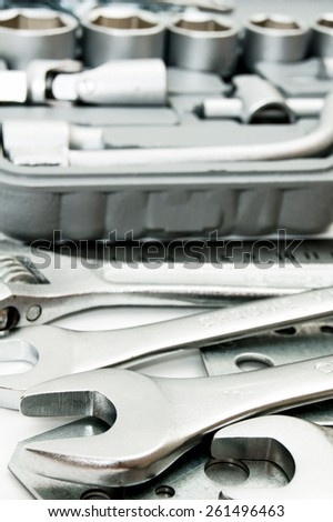 Metal working tools. Metalwork. Spanner, box and others tools. - stock photo