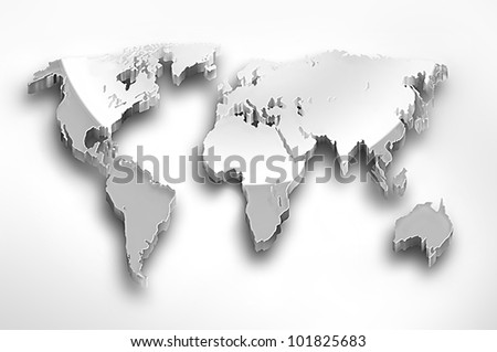 Metal world map on a light background - stock photo