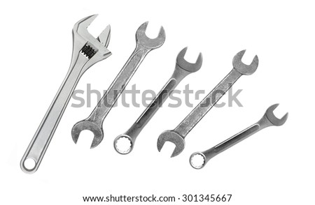 Metal wrenches isolated on white - stock photo