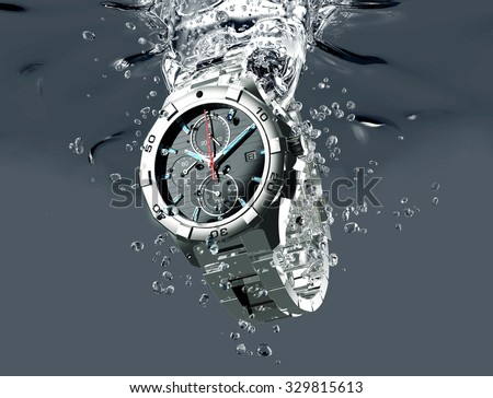 metal wrist watch is under water. - stock photo