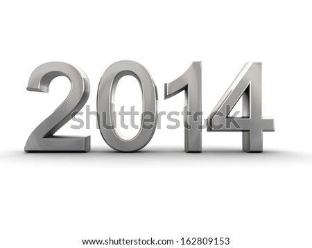 Metal year 2014 in white background 3d illustration - stock photo
