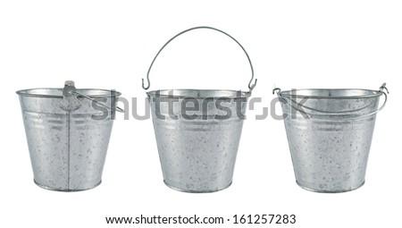 Metal zinc bucket isolated over white background, set of three foreshortenings - stock photo
