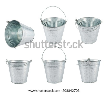 Metal zinc bucket isolated over white background, set of three foreshortenings - stock photo