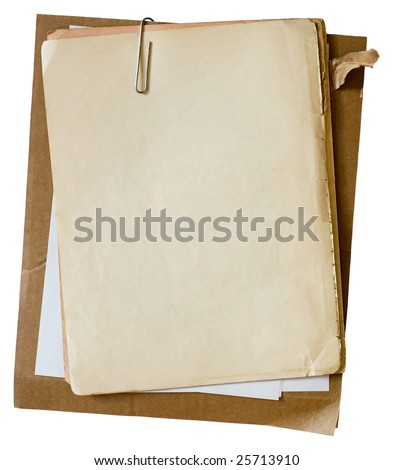Metalic paper clip on stack of old papers. Clipping path included - stock photo