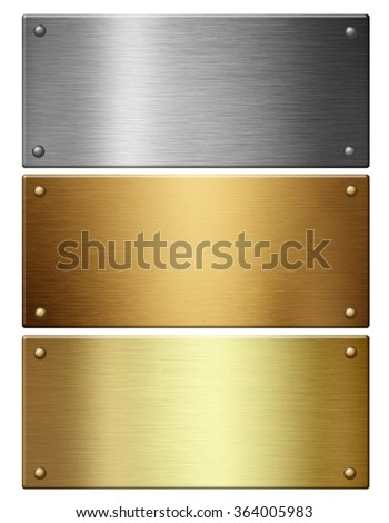 Metallic background textures. Brushed metal collection: gold, silver, bronze. - stock photo
