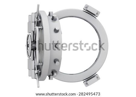 Metallic bank vault door on a white background - stock photo
