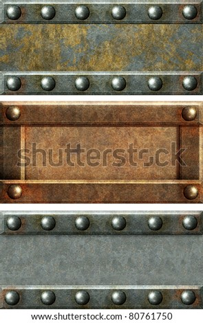 Metallic banners with grey metal and rust texture - stock photo