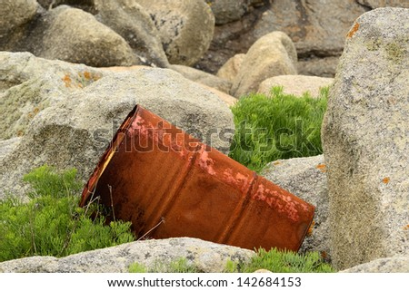 Metallic barrel with corrosive signs in a natural park.  Industrial waste and pollution. Environmental campaign. Horizontal view - stock photo