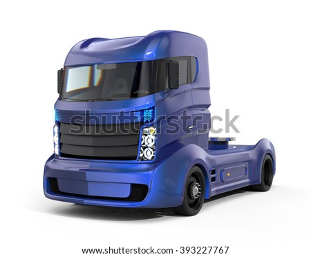 Metallic blue hybrid electric truck isolated on white background. Clipping path available. - stock photo