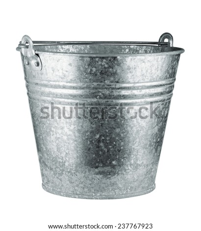 Metallic bucket isolated on white background. Clipping Path - stock photo