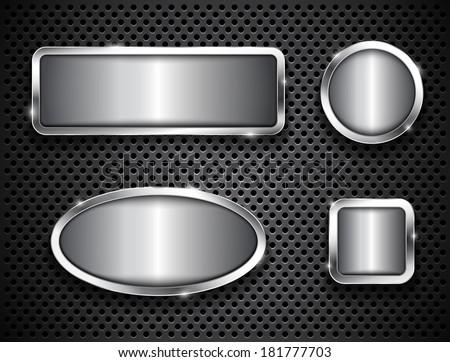 Metallic buttons on textured background - stock photo