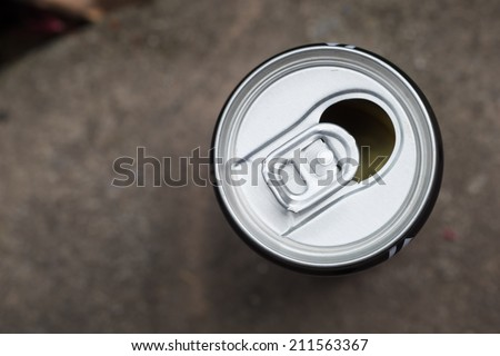 metallic can, view from the top - stock photo
