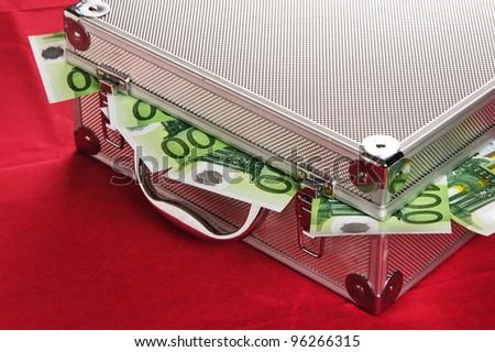 Metallic case full of Euro - stock photo