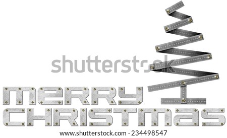 Metallic Christmas tree in the shape of folding ruler with bolts isolated on white background and metal written Merry Christmas - stock photo
