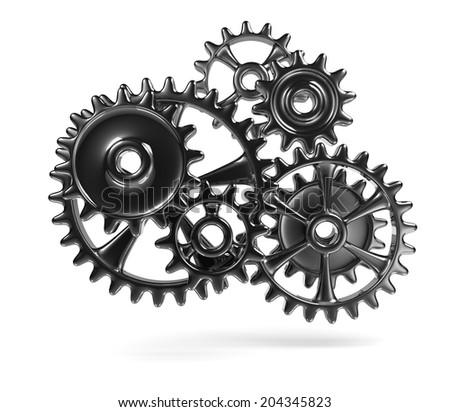 Metallic Cogwheels Engaged 3D Illustration Isolated on White Background - stock photo