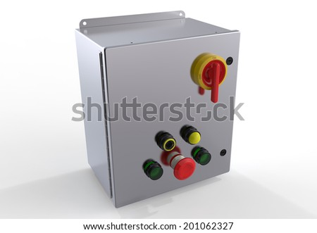 Metallic control box isolated on white background - stock photo