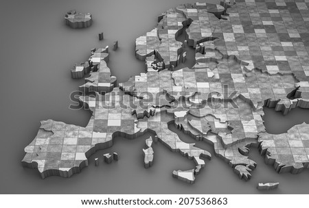 Metallic Europe map in 3d, 2014 political distribution - stock photo