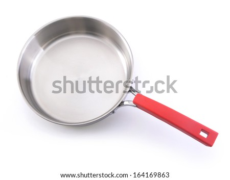 Metallic frying pan isolated on white background - stock photo