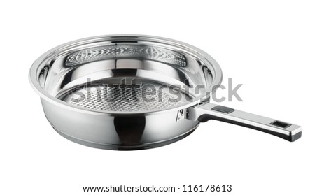 Metallic frying pan on isolated on white background - stock photo