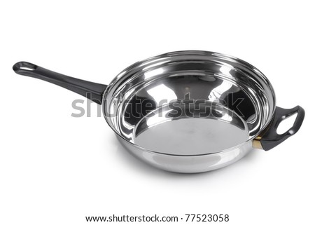 Metallic frying pan on isolated on white background - stock photo