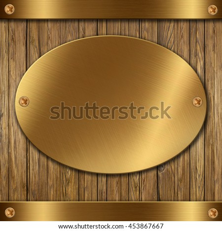 Metallic gold on wooden background for your design - stock photo