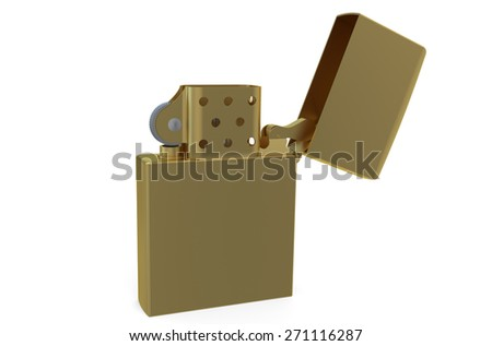 Metallic golden lighter isolated on white background - stock photo