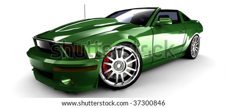 metallic green sports car with retro styling isolated on white - stock photo