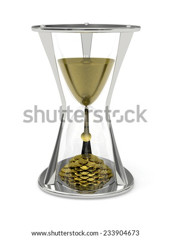 Metallic Hourglass with the sand at the top and gold coins at the bottom - stock photo