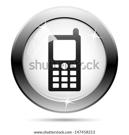 Metallic icon with black design on white glass background - stock photo