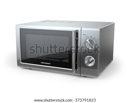 Metallic microwave oven isolated on white background. 3d - stock photo