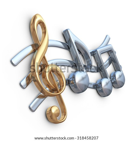 Metallic music note 3D. Music composition. Isolated on white background - stock photo