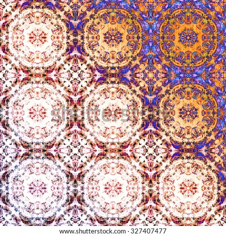 Metallic oriental pattern with ethnic traditional elements. Royal texture for textile, wallpapers, advertisement, page fill, book covers etc. Christmas background, golden and purple foil - stock photo