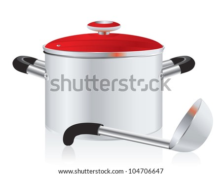 metallic pan, covered with lid and ladle on a white background - stock photo