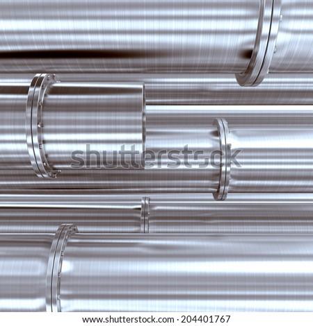 Metallic pipeline. 3d render illustration - stock photo